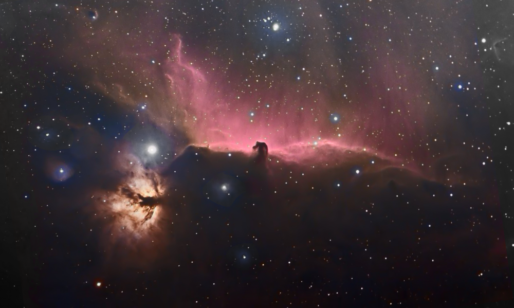 IC434 (Конская голова) и NGC 2024 (пламя), цветной вариант