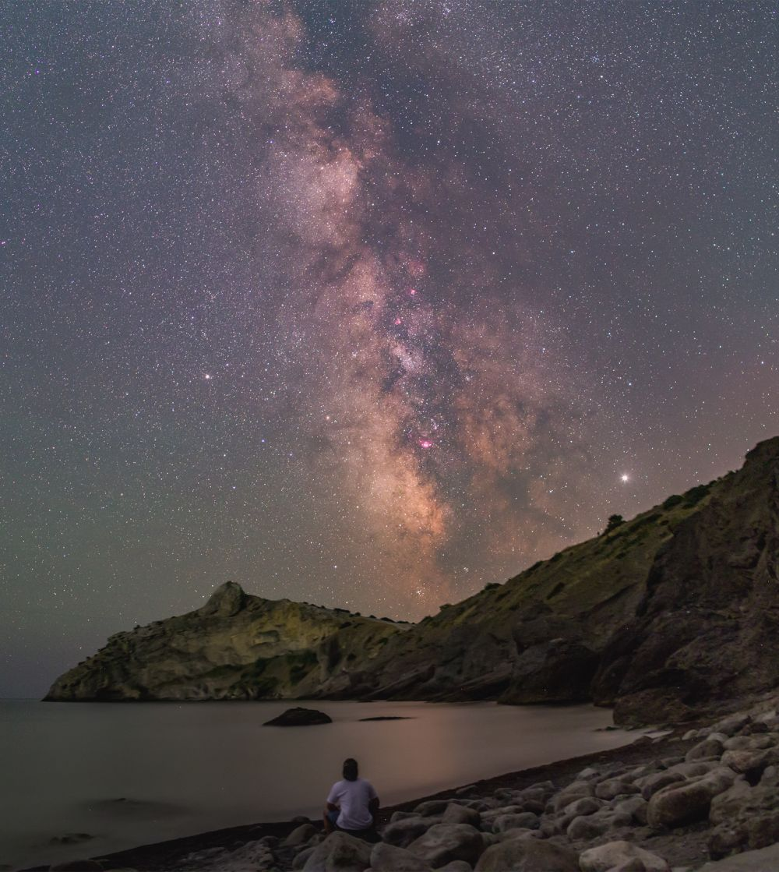 Milky Way & astronomer 2