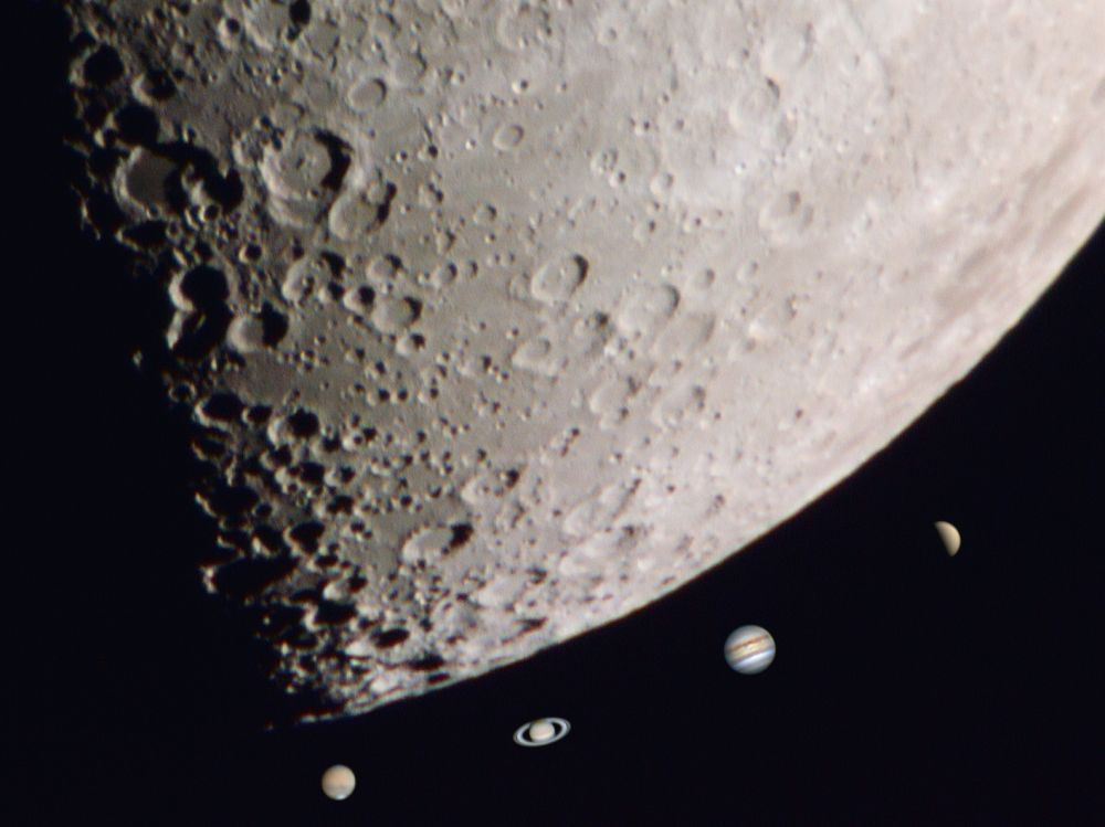 Five planets - Venus, Jupiter, Moon, Saturn, Mars