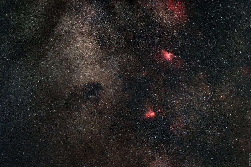 """M 16 """"Eagle nebula"""", M 17 """"Omega"""". July 27, 2019."""