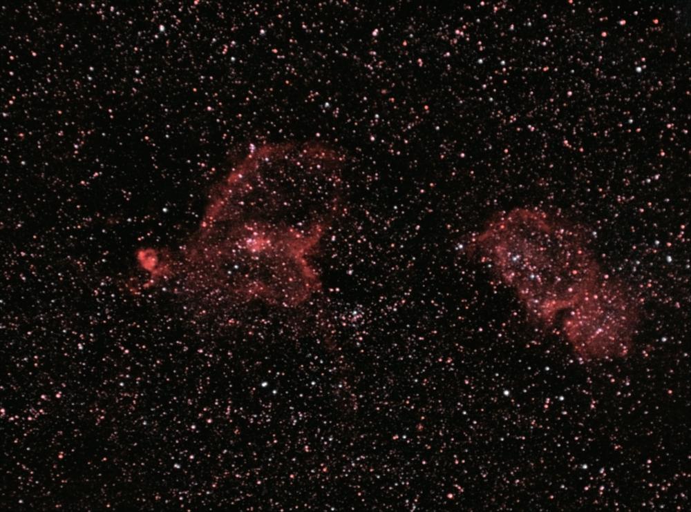 Эмиссионные туманности Сердце и Душа расположенные около созвездия Кассиопеи. 18.08.2021
