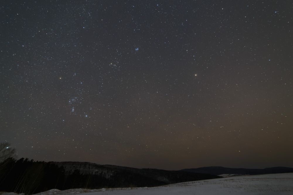 Orion constellation, Pleyades, Mars etc.