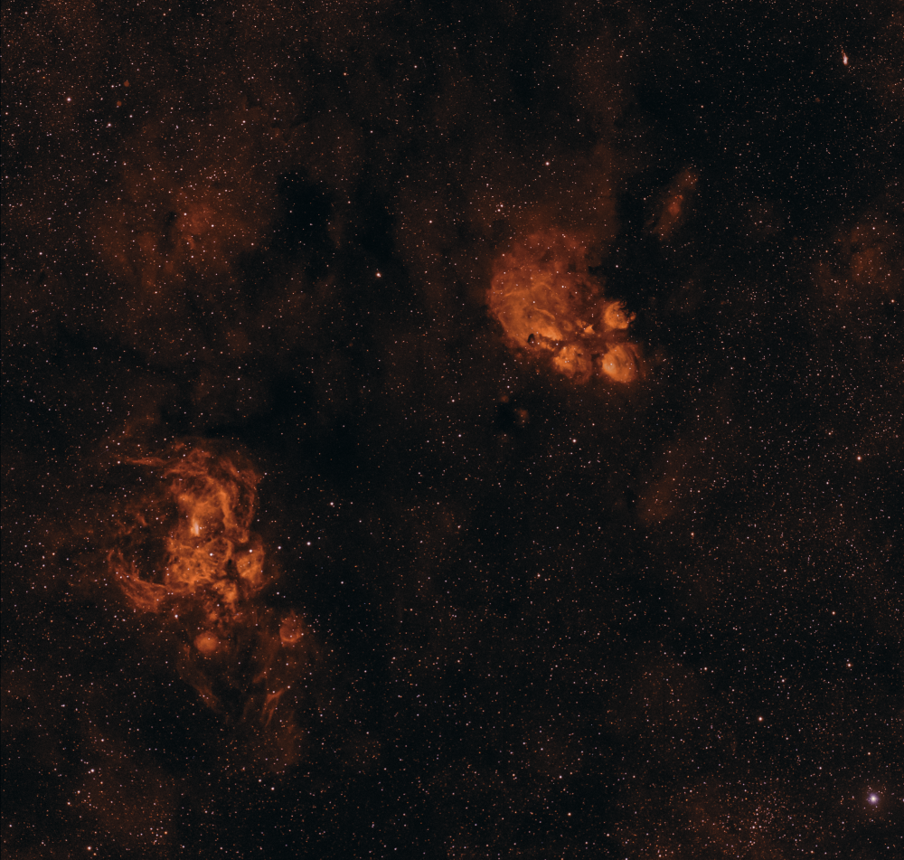 NGC 6334 (туманность Кошачья Лапа), NGC 6302 (Туманность бабочка), NGC 6357 (туманность Лобстер)