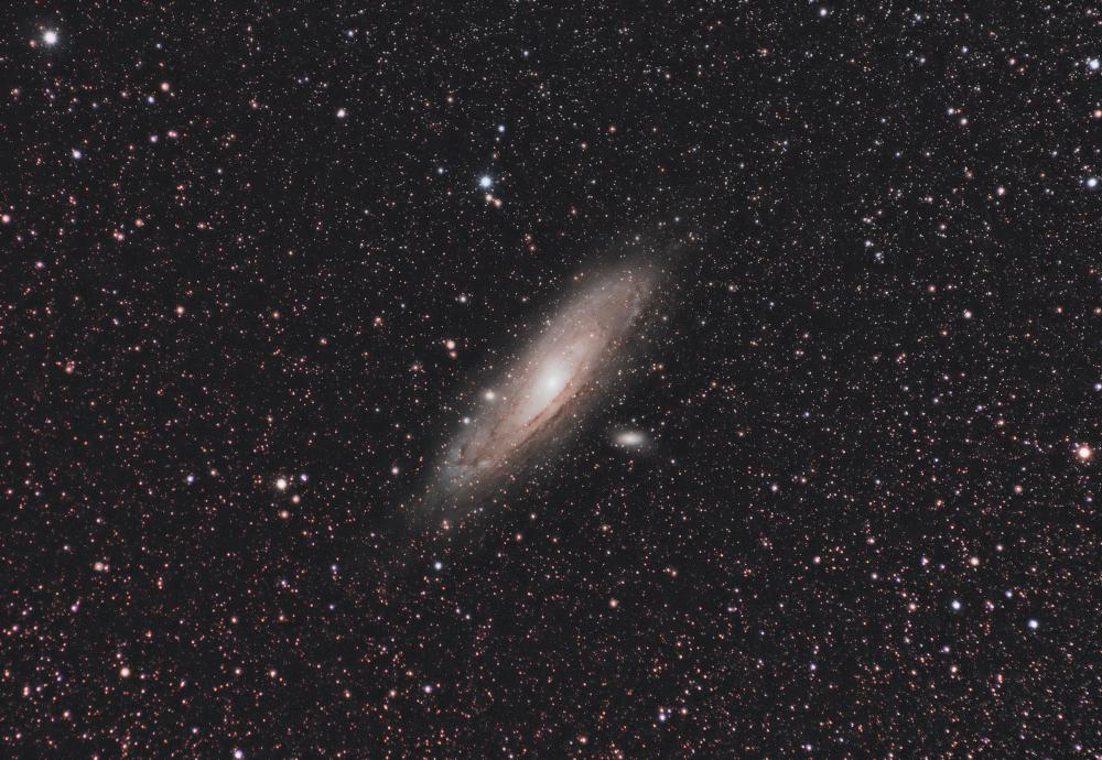 Галактика Андромеды М31 и ее галактики-спутники М32 и М110