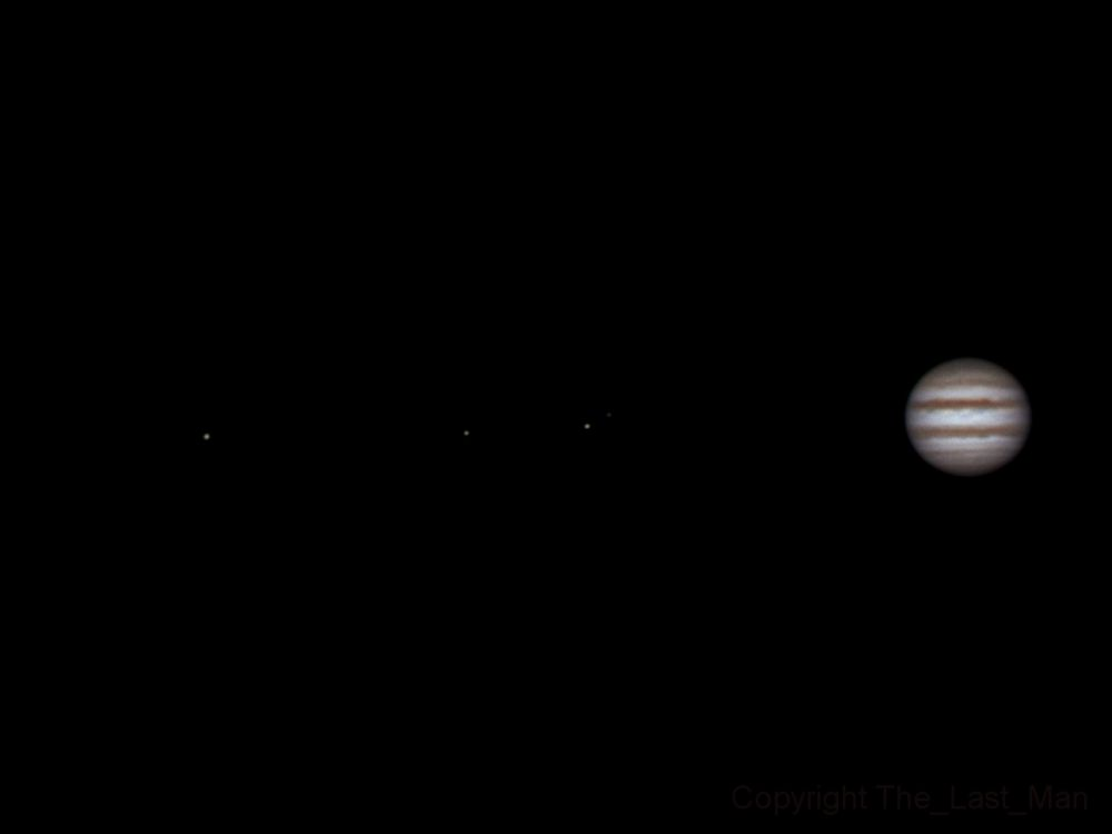 Ganymede, Europa, Io, Callisto and Jupiter, 23 january 2015, 22:19