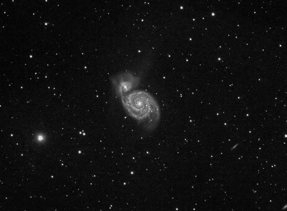 M51 - The Whirlpool Galaxy monochrome