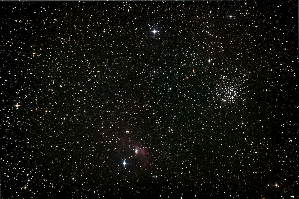 NGC 7635 Bubble Nebula and M52 Cassiopeia Salt-and-Pepper Open Cluster
