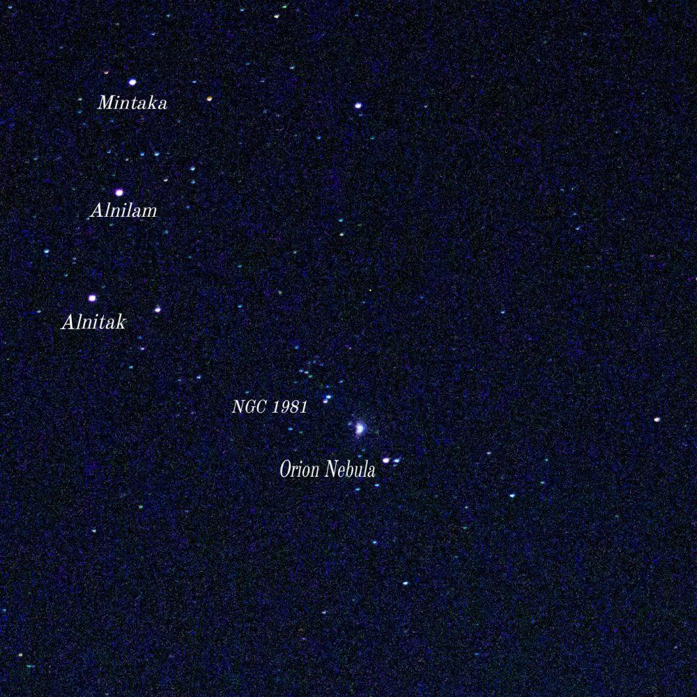 Большая Туманность Ориона и её окрестности на небесной сфере.