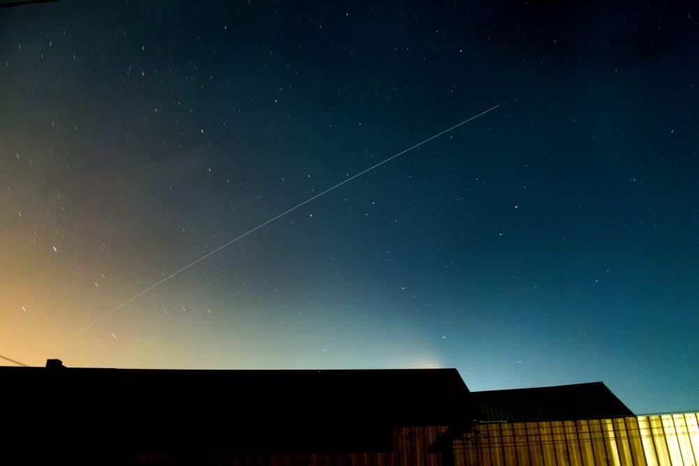 Трек от пролёта МКС в новой обработке
