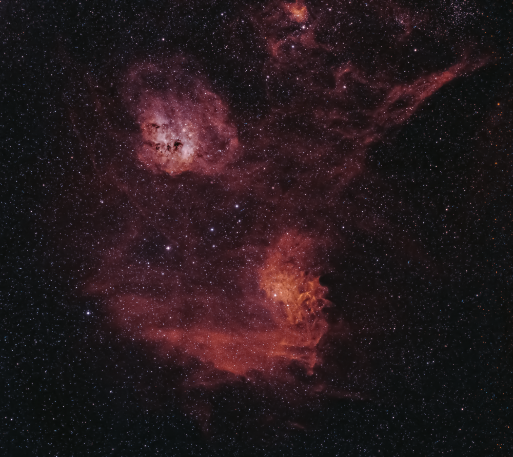 Flaming Star Nebula (IC 405, IC 417, M 38, NGC 1893, NGC 1907, NGC 1912)