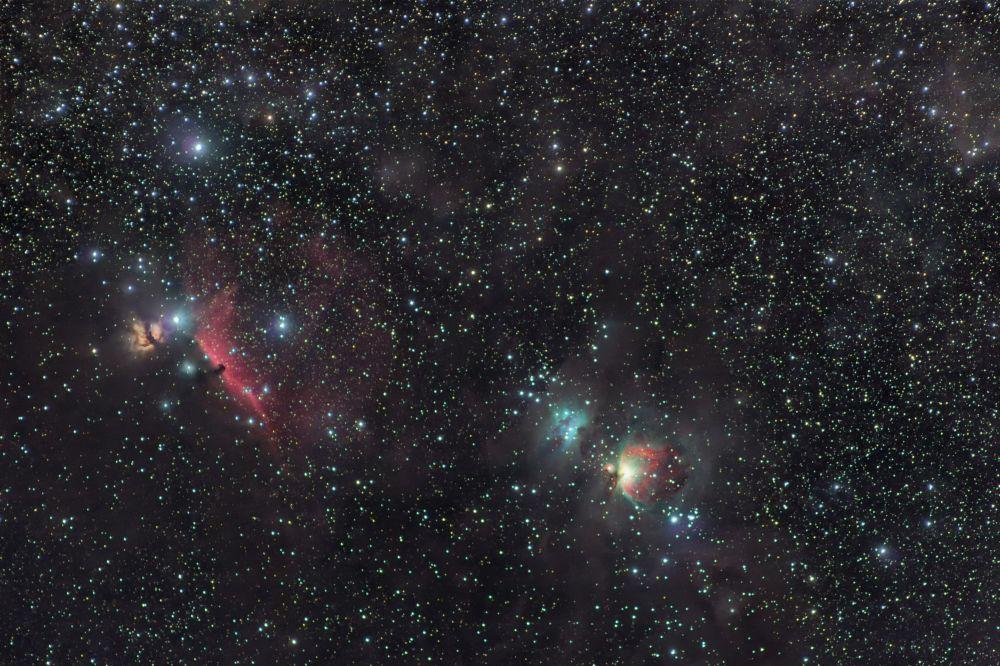 Большая туманность Ориона, Пламя, Конская и Бегущий человек