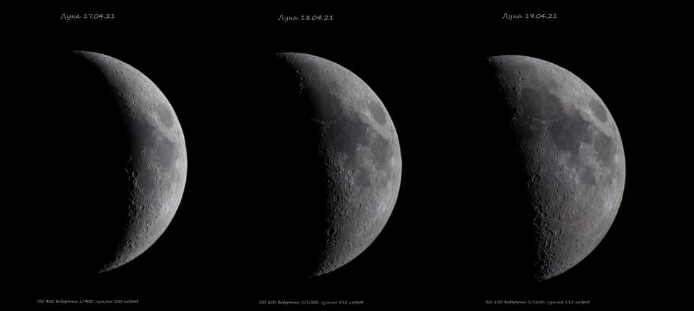 Лунные фазы растущей Луны
