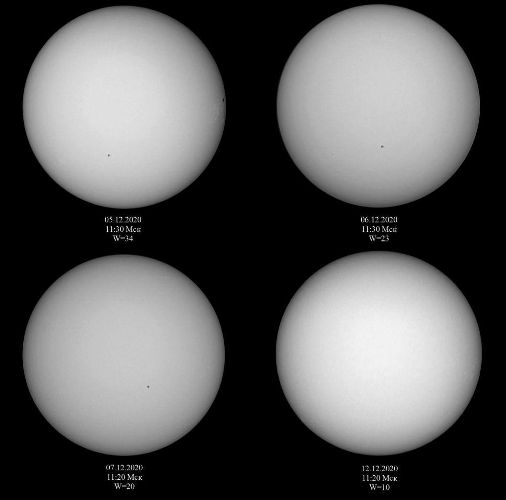 Солнечная активность в начале декабря 2020 г.
