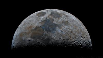 Луна в усиленных цветах. - астрофотография