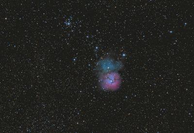 Trifid nebula M20 & open cluster M21  - астрофотография