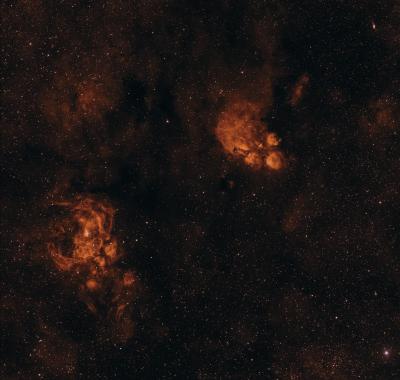 NGC 6334 (туманность Кошачья Лапа), NGC 6302 (Туманность бабочка), NGC 6357 (туманность Лобстер) - астрофотография