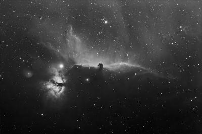 IC434 (Конская голова) и NGC 2024 (пламя) в линии водорода На - астрофотография