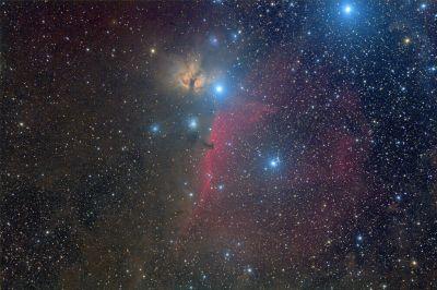 HorseHead (B33 + IC434) & Flame (NGC2024) Nebulas - астрофотография