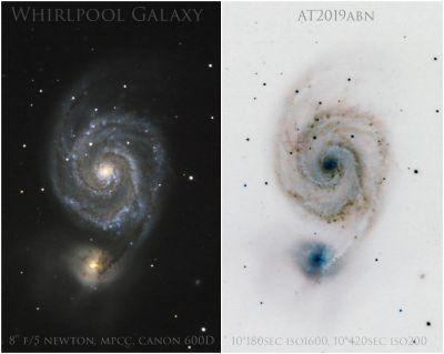 Whirpool Galaxy M51, AT2019abn - астрофотография