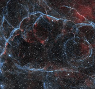Остаток сверхновой в Парусах и рассеянные скопления NGC 2645 и NGC 2659 - астрофотография