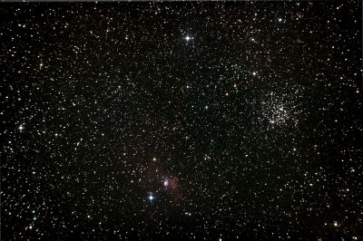 NGC 7635 Bubble Nebula and M52 Cassiopeia Salt-and-Pepper Open Cluster - астрофотография