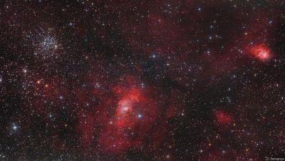 """Рассеянное скопление М52, туманность NGC 7635 """"Пузырь"""" и туманность NGC7538 """"Северная Лагуна"""" - астрофотография"""