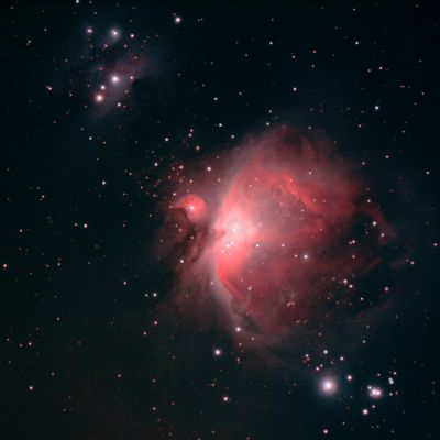M42 Orion's nebula and NGC1977 Running Man nebula - астрофотография