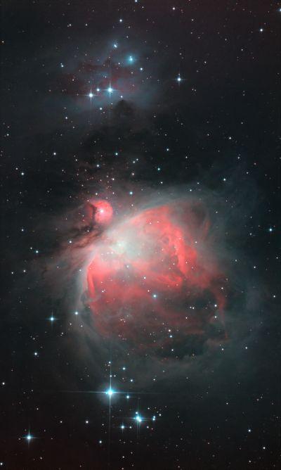"""NGC 1976 (""""Большая туманность Ориона"""") и NGC 1977 (туманность """"Бегущий человек"""") - астрофотография"""