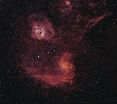 Flaming Star Nebula (IC 405, IC 417, M 38, NGC 1893, NGC 1907, NGC 1912) - астрофотография