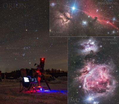 Horsehead, Flame, M42, Running Man and my telescope - астрофотография