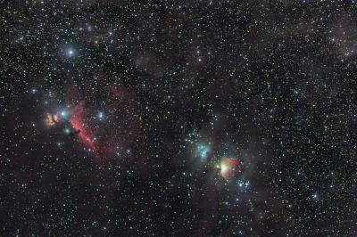 Большая туманность Ориона, Пламя, Конская и Бегущий человек - астрофотография