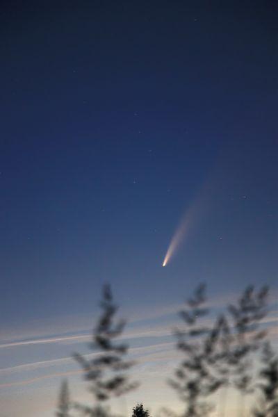 C2020 F3/NEOWISE и серебристые облака - астрофотография