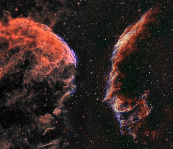 Two supernova remnants, IC443 and NGC6995, staring at each other. - астрофотография