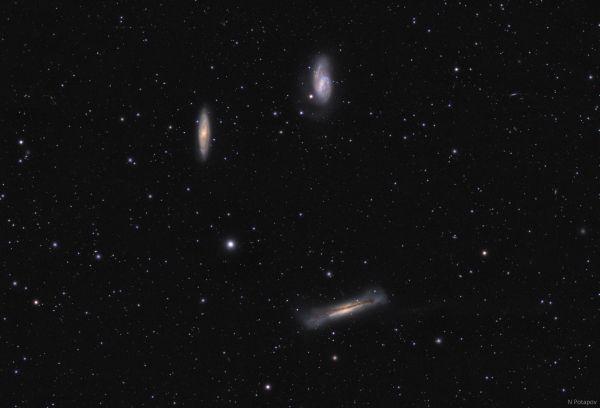"""Группа галактик M65 , M66 и NGC 3628 """"Триплет Льва"""" - астрофотография"""