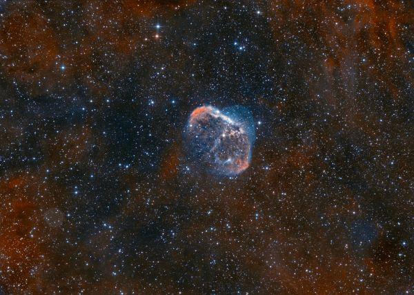 Полумесяц и Мыльный Пузырь в сумерках - астрофотография
