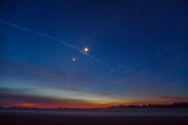 Рассветное соединение Юпитера с Марсом и Венерой - астрофотография