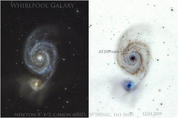 M51, AT2019abn - астрофотография