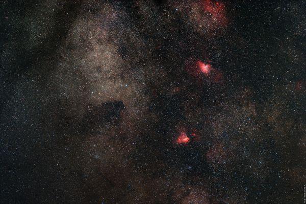 """M 16 """"Eagle nebula"""", M 17 """"Omega"""". July 27, 2019. - астрофотография"""