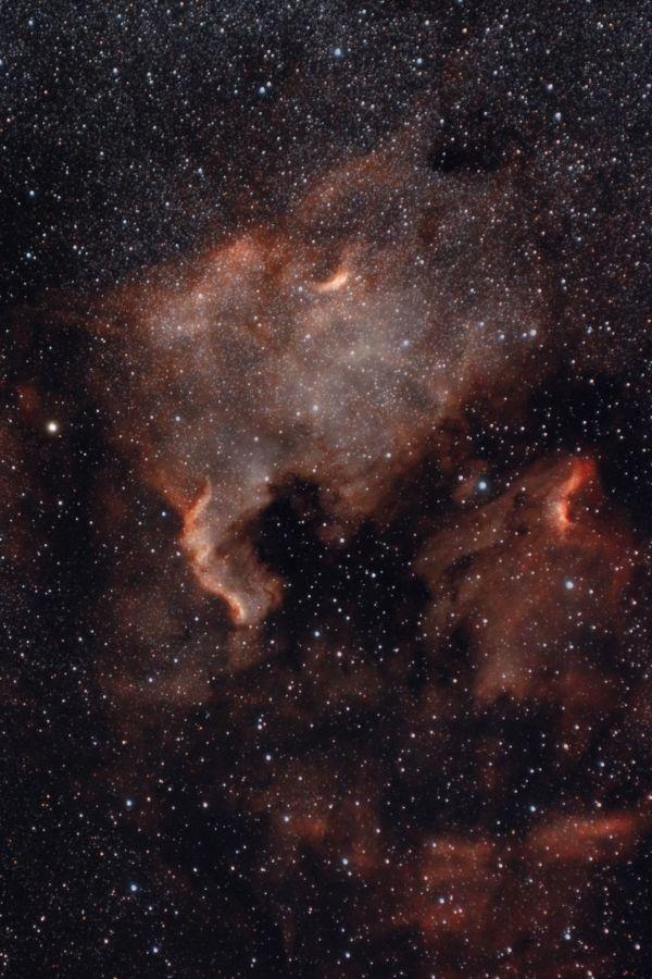Туманности Северная Америка и Пеликан в созвездии Лебедя - астрофотография