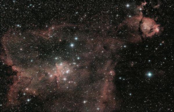 """Тумманности IC 1805 """"Сердце"""" и IC 1795 """"Рыбья голова"""" - астрофотография"""