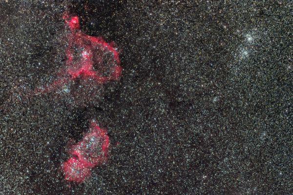 Туманности Душа и Сердце и двойное рассеянное скопление Хи-Аш Персея - астрофотография