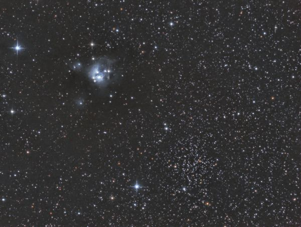 A little gem in Cepheus: NGC7129 with NGC7142 in RGB - астрофотография
