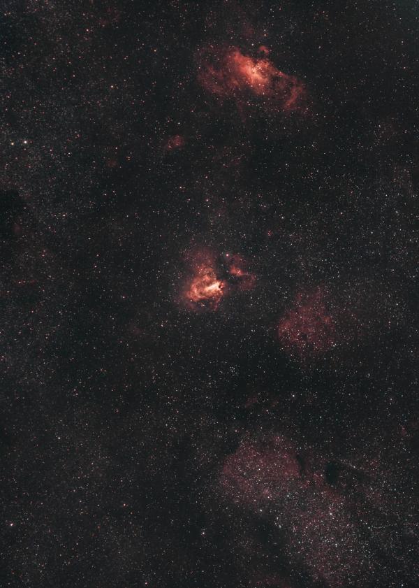Туманности М16 и М17 (NGC6596, M24, NGC6605,IC4701) - астрофотография