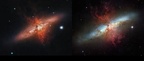 M82: 102mm рефрактор vs Hubble Space Telescope - астрофотография