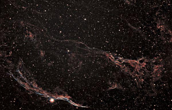 Western Veil Nebula NGC6960 and Pcikerings Triangle - астрофотография