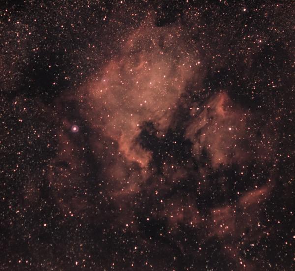 NGC 7000 - туманность Северная Америка и  IC 5070 - туманность Пеликан - астрофотография