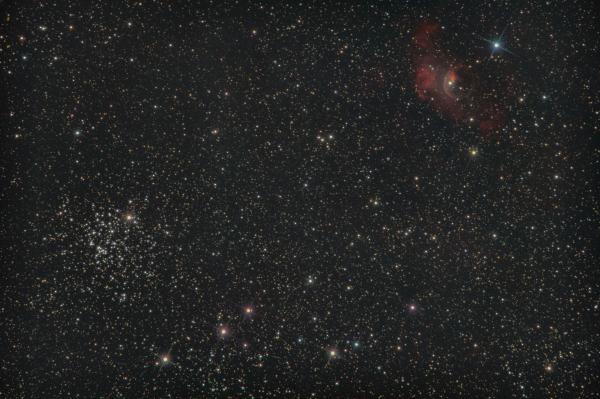 Новая звезда в Кассиопее: N Cas 2021 & M52 & NGC 7635 - туманность Пузырь. - астрофотография