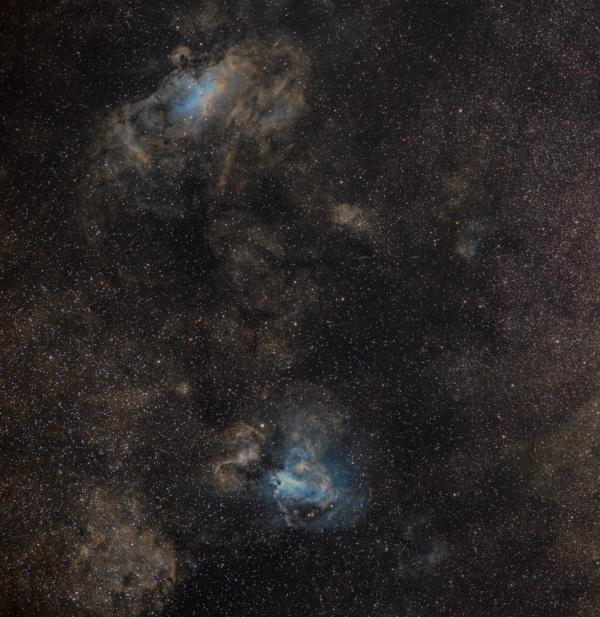Регион туманностей Орёл (M16) в созвездии Змеи и Омега (M17) в Стрельце - астрофотография