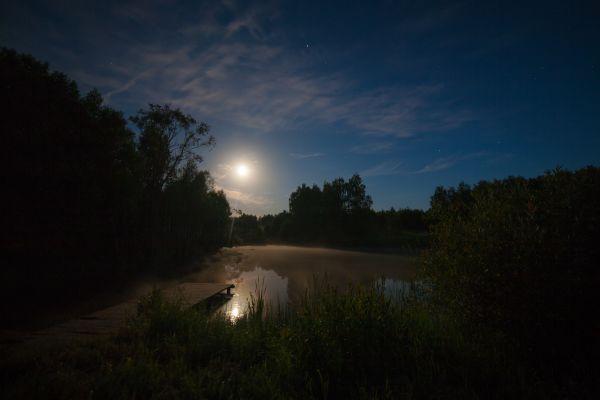 Тихая Лунная ночь на пруду деревни Бурково - астрофотография