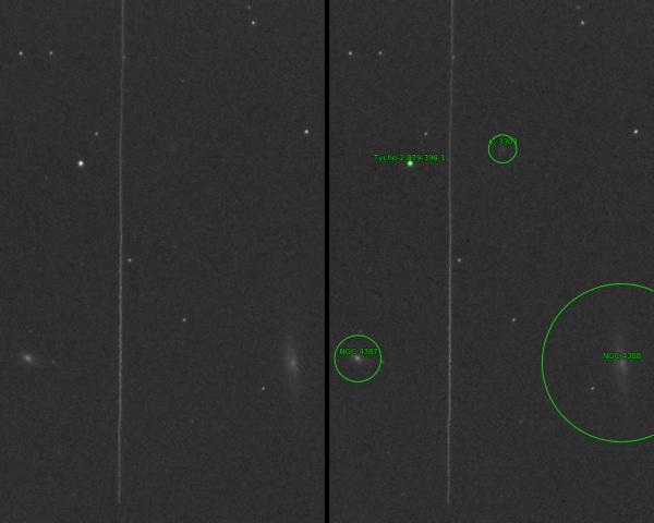 Неровный след метеора среди галактик цепочки Маркаряна. Пересекает границу волос Вероники и Девы. - астрофотография